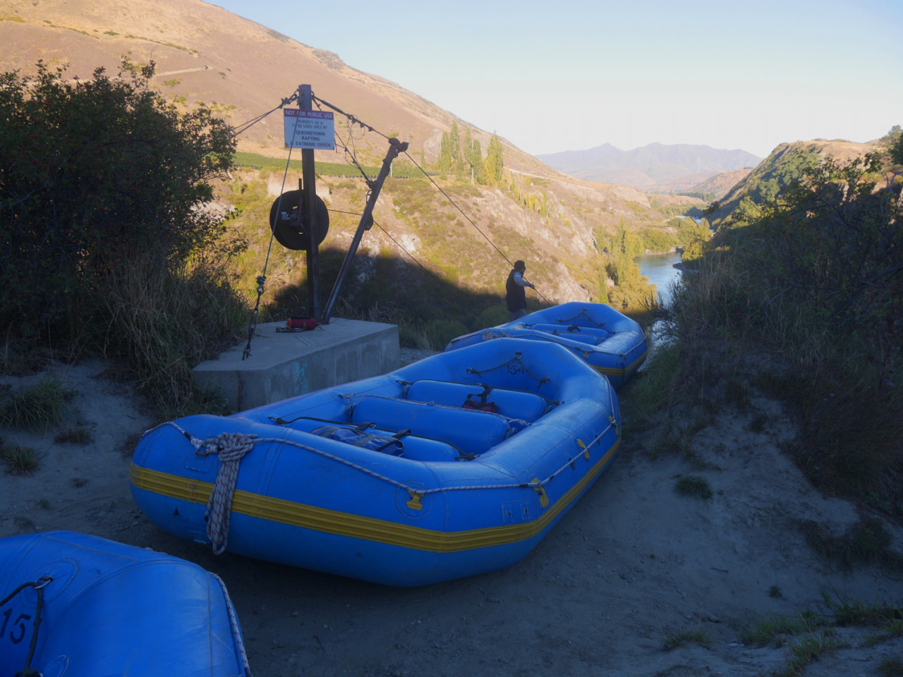 Our rafts queueing for the flying fox ride into the Kawarau gorge below.