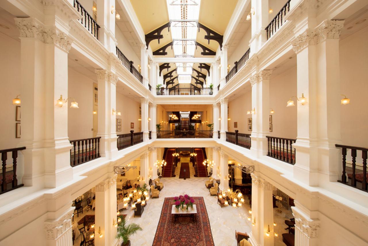 Raffles Hotel lobby.