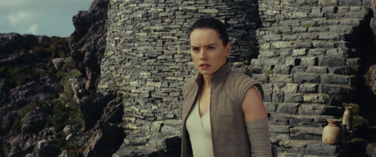 Rey on Skellig Michael, looking for Luke.