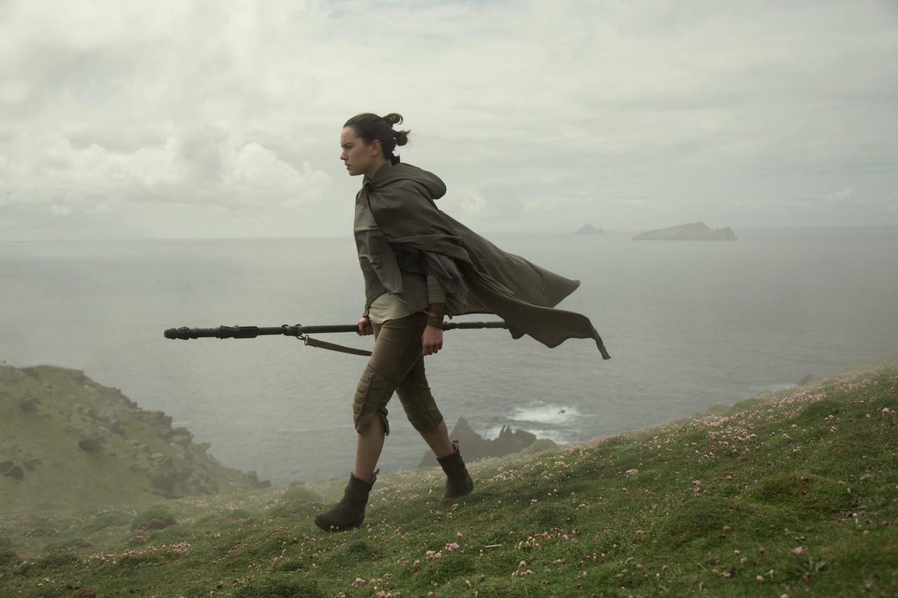 Rey looking for Luke on Skellig Michael.