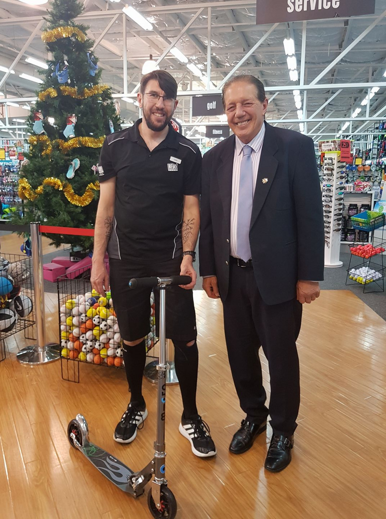 Rebel Sport and Micro Scooters gift Shadbolt a new ride in honour of his efforts towards green transportation in Invercargill!