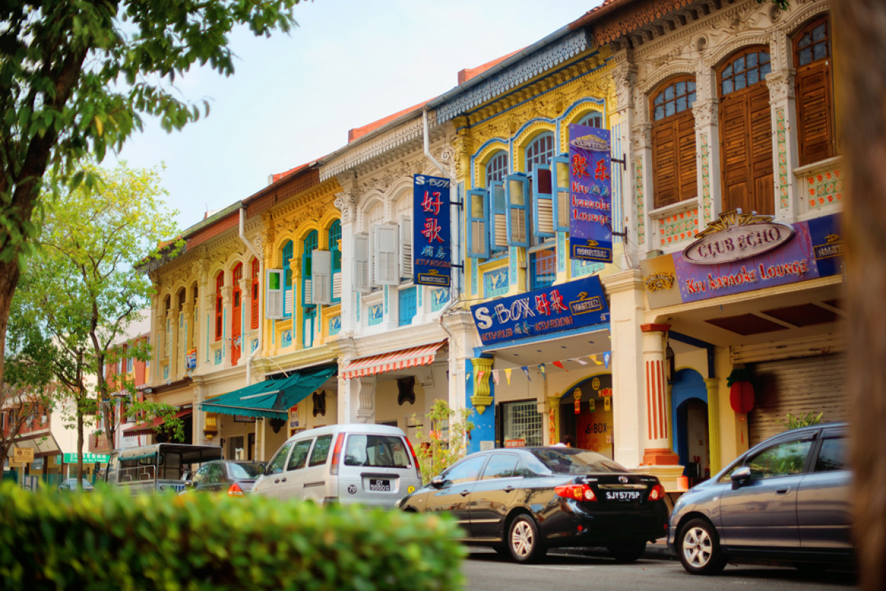 The colourful Peranakan shophouses in Joo Chiat.