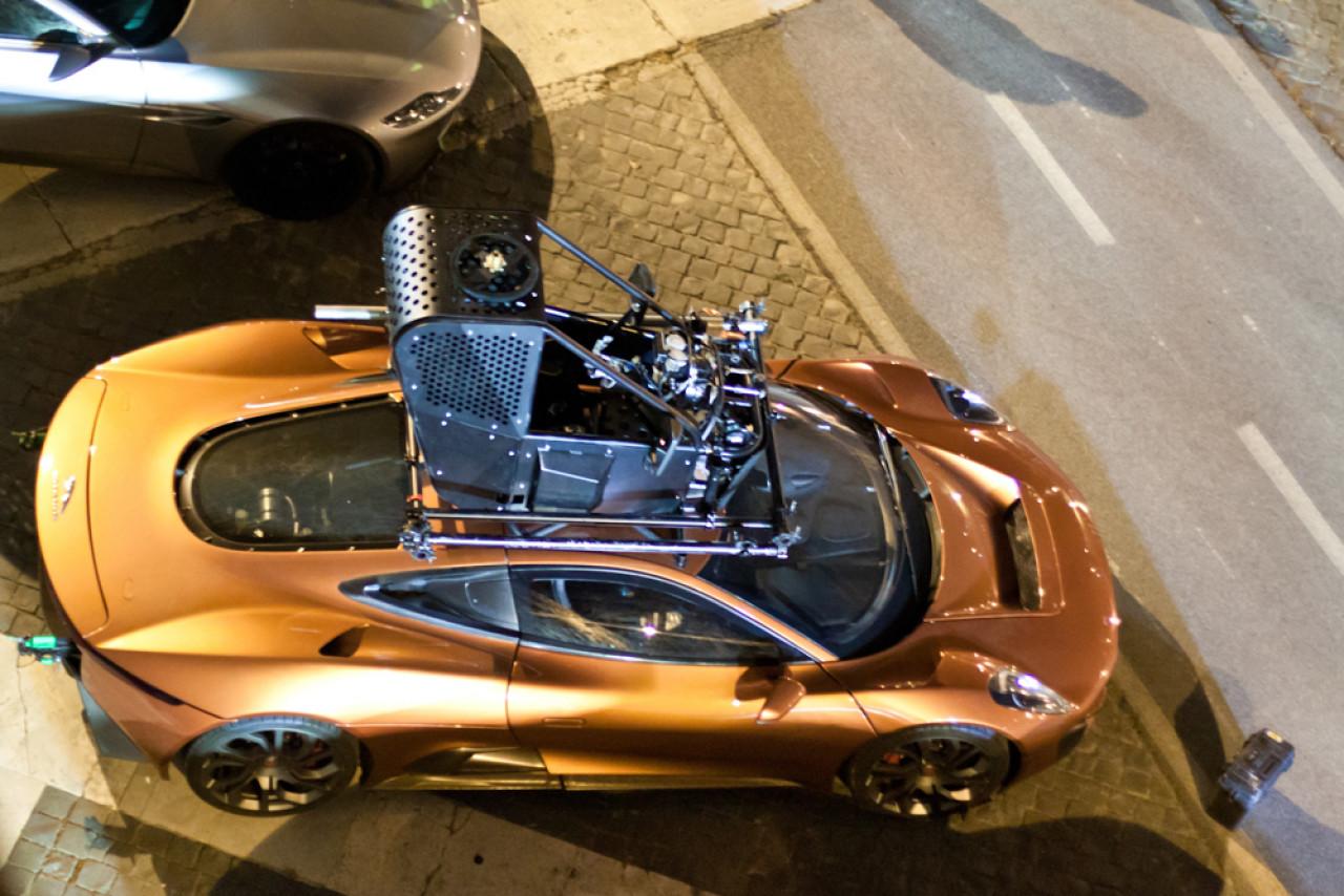 Jaguar C-X75 on the Spectre film set at Tiber river in Rome, March 2015.