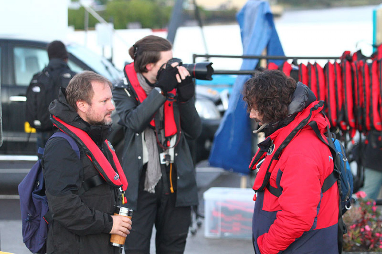 Director Rian Johnson (left) preparing for his trip out to Skellig Michael.