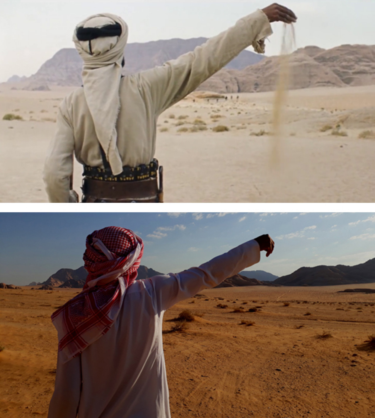 Recreating a scene from Theeb (top: movie scene / bottom: Huseen on location).