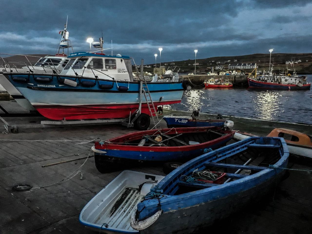 The quaint Portmagee harbour on arrival.