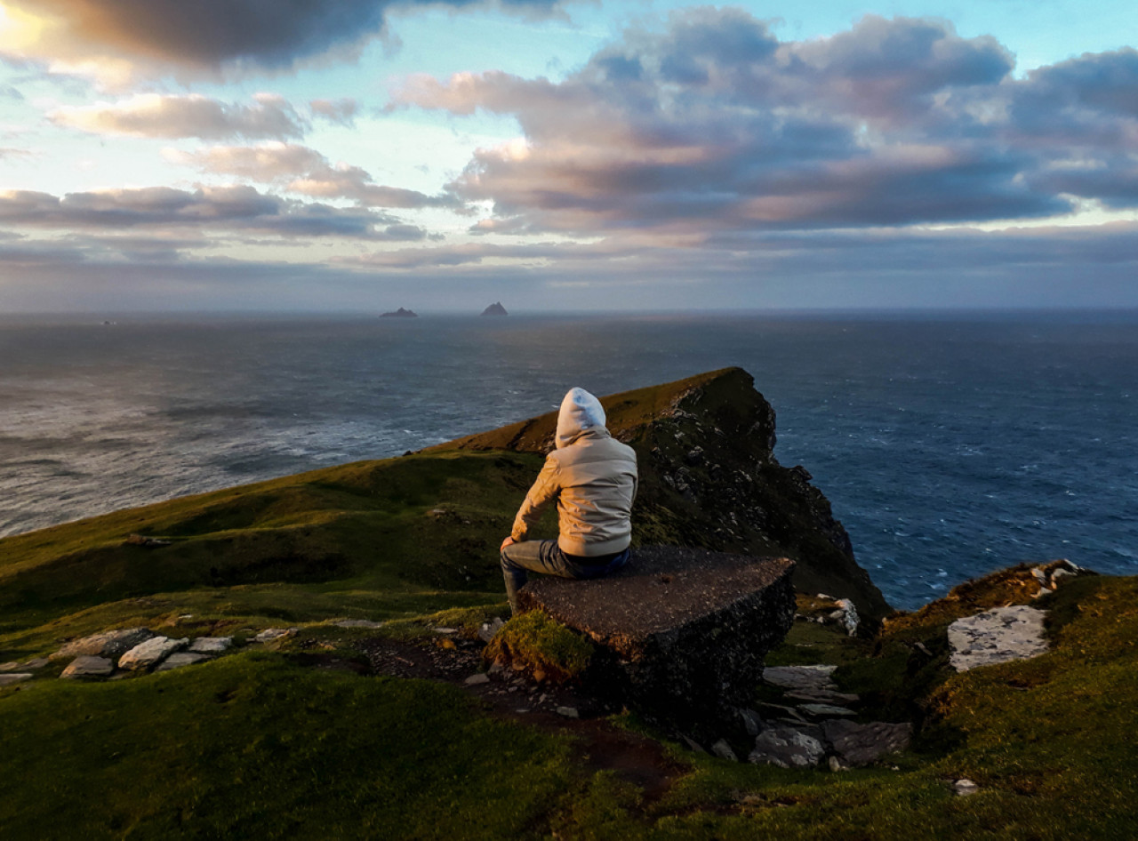 Looking towards Skellig Michael. The island on the left is Little Skellig, nesting place for one of the world's largest gannett colonies.